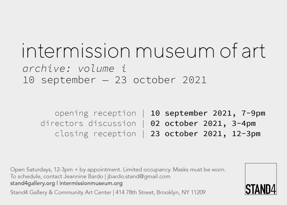 intermission museum of art (ima) + stand4 gallery, archive: volume i exhibition, card invite back